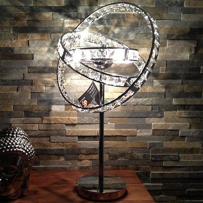 s.LUCE Orbit / Kristall Tischleuchte Ø 36 cm / chrom / Tischlampe