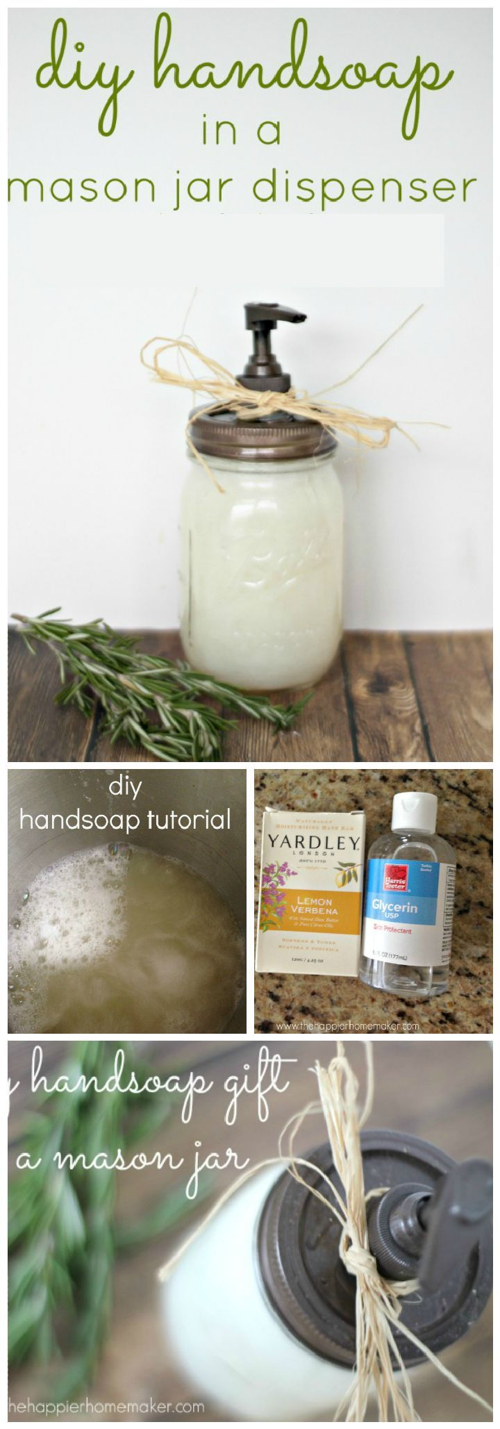 Hand Soap In A Mason Jar Dispenser Gift - 35 Unique DIY Mason Jar Gifts for Everyone - I Heart Crafty