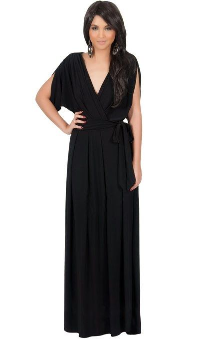 maxi dress with sleeves: black maxi dress with sleeves