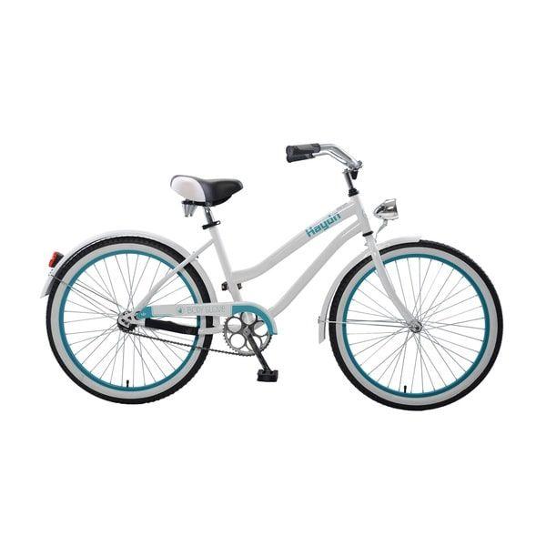 Body Glove Hayden Cruiser Bike, 24 inch wheels, oversized frame, Girl's Bike, White/Teal