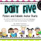 Daily Five Posters and Editable Anchor charts with a bright chevron on white background!