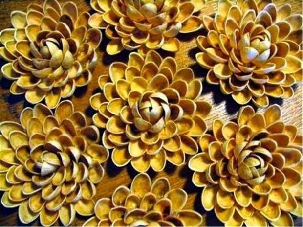 Os presento un DIY para hacer flores con las cascaras pistacho