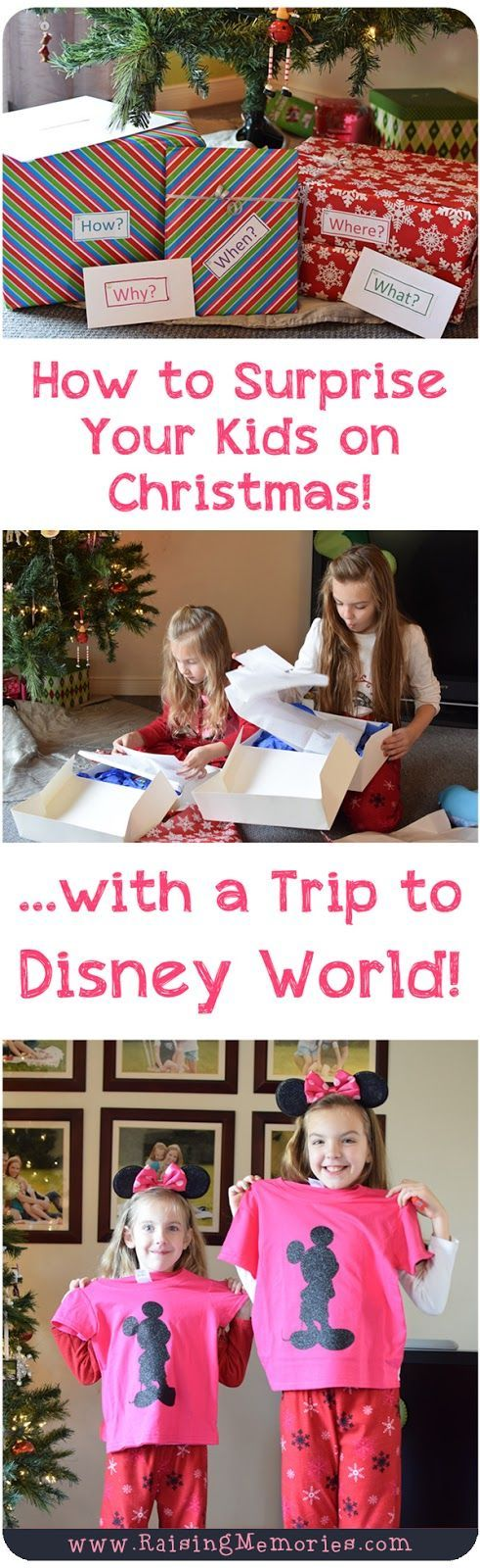 Such a Fun and Simple Creative way to surprise your kids with a Trip To Disney World! by www.RaisingMemories.com                                                                                                                                                                                 More