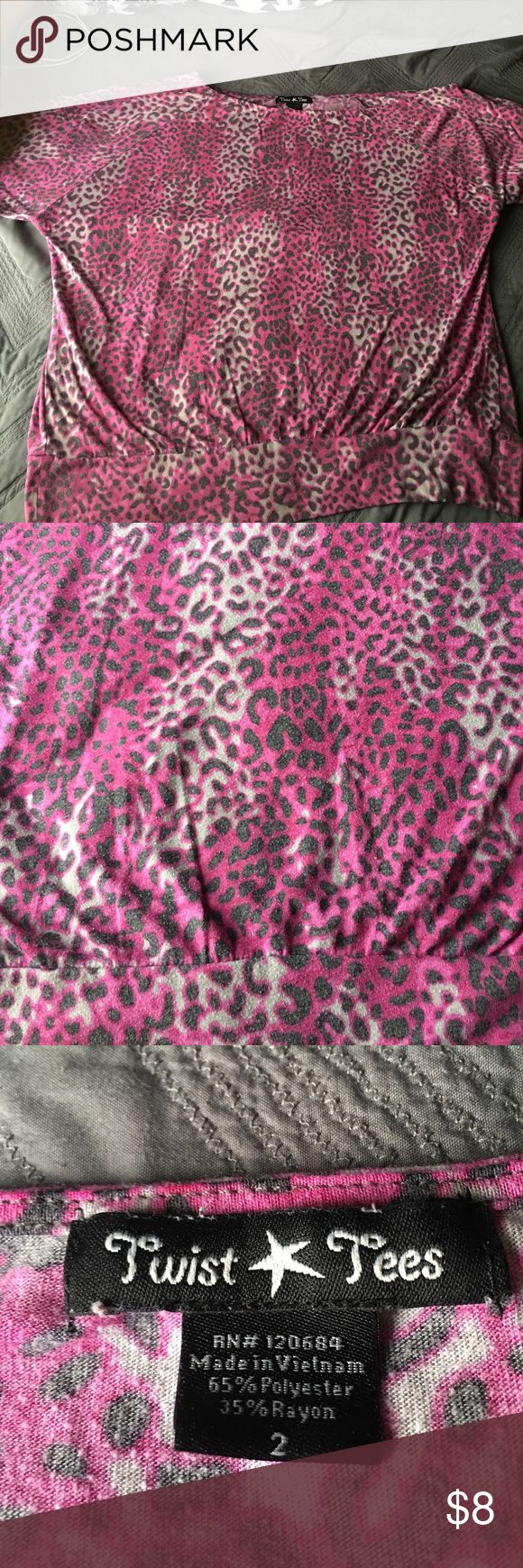 Off the shoulder, purple leopard print shirt. Off the shoulder, purple leopard print cropped shirt. Well loved. Second photo shows pilling from washing. torrid Tops