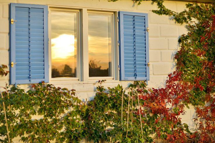 Last rays of sunshine warming Kis Alma Ház at Catherine's Vineyard Cottages in Csákberény, Hungary.