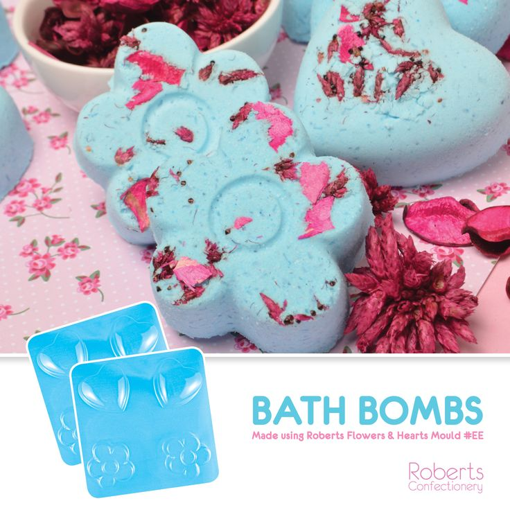 Use the Flowers and Hearts Chocolate Mould to make Bath Bombs!