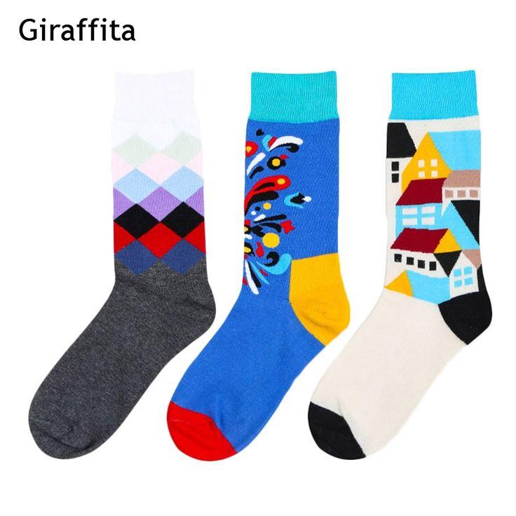 2018 men crew cotton socks british style argyle dot striped pattern harajuku  fa…