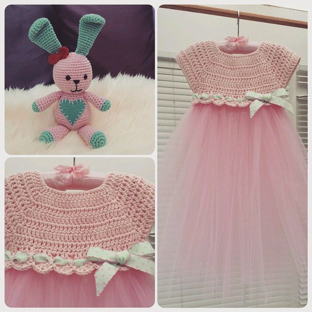 Crochet and tulle baby dress and amigurumi bunny.  Pattern for dress inspired from: http://www.theviewfrommyhook.net/2014/07/free-pattern-friday-kassia-empire-waist.html?spref=pi  Bunny pattern:  http://www.lilleliis.com/free-patterns/funny-bunny/