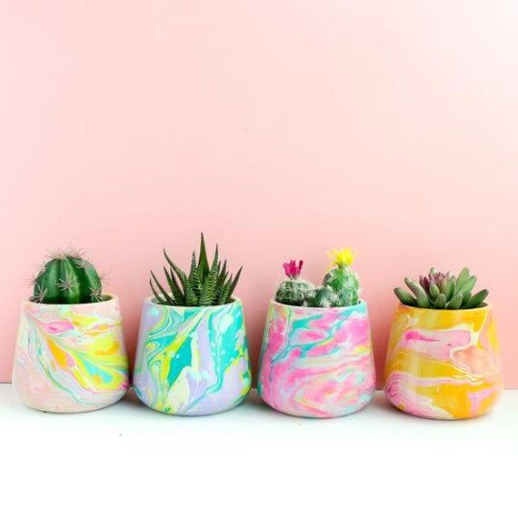Large Marble Planter Concrete Planter Marble Print Marbled Planter Colorful Planters Painted Pots Diy