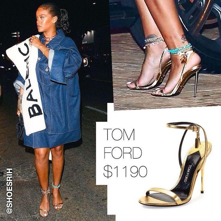 Tom Ford gold metallic strappy ankle padlock sandals $1190 @badgalriri