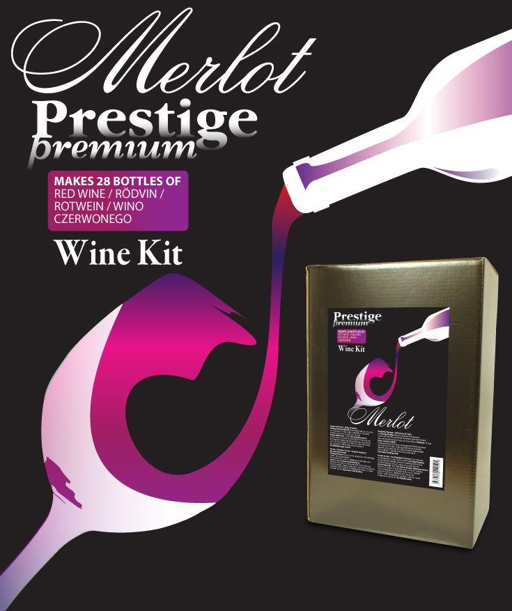 Prestige Premium 7KG Merlot vinsats Premium kvalitet vinsats på sortrena druvor. 6,9 kg druvkoncentrat i praktisk 5L plastdunk. Komplett med ingredienser - endast vatten behöver tillsättas.