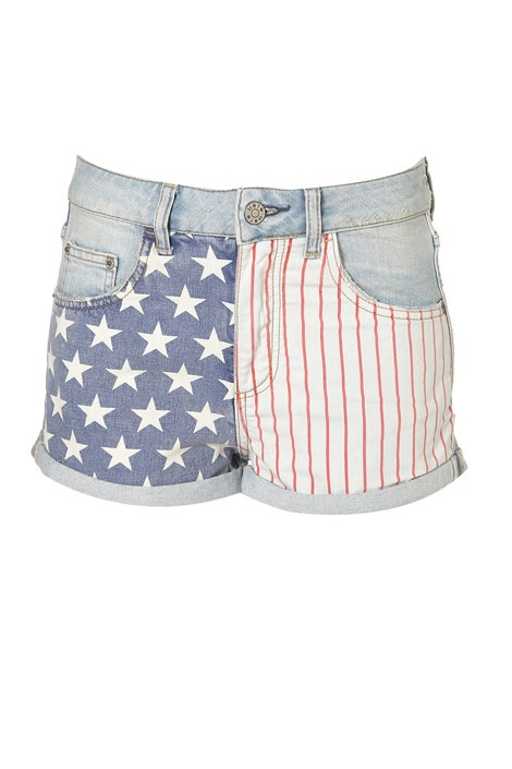Perfect for July 4th: Topshops flag-print shorts: Fashion, Flags Prints, Fourth Of July, Bleach Flags, American Flags Shorts, 4Th Of July, Denim Shorts, Moto Bleach, Prints Hotpants
