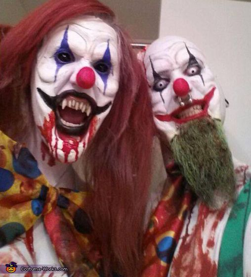 Evil killer clown special Make up, teeth & FX contact lenses ideas / Clown on left paired with all black sclera contacts: http://www.pinterest.com/pin/350717889705707881/ / Clown on right paired with all-white contacts => http://www.pinterest.com/pin/350717889705763104/