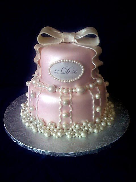 """Pink and Pearl - Idea came from a beautiful cake made by cc'er aandsmommy! 6/8"""" , covered in mmf, w/hand rolled pearls airbrushed with pearl sheen."""