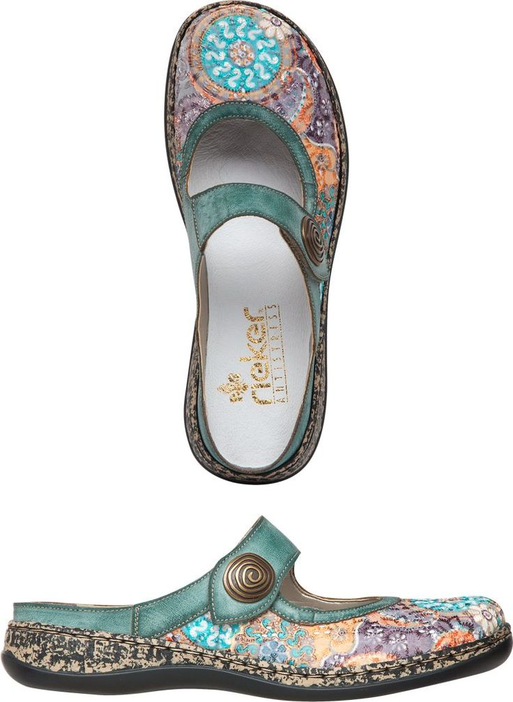 Beautiful embroidered clogs made by Rieker.  I wonder how you would manage to keep them clean?