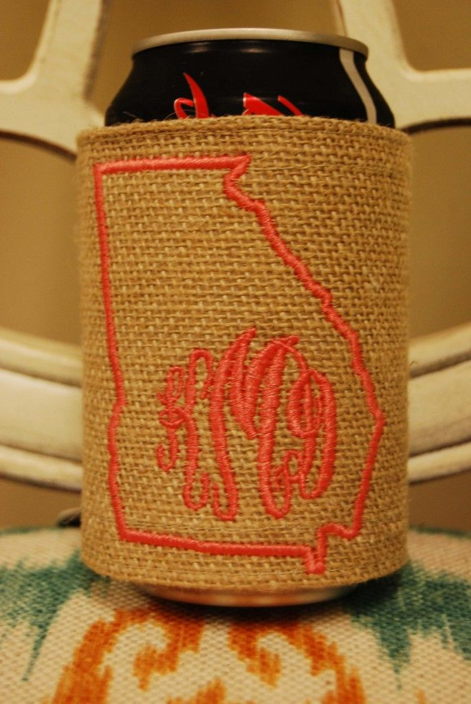 Monogrammed state coozie.