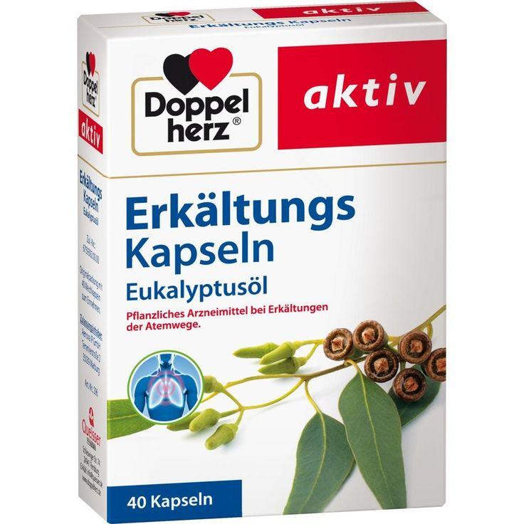 DOPPELHERZ Erkältungskapseln Eukalyptusöl:   Packungsinhalt: 40 St Weichkapseln PZN: 07091046 Hersteller: Queisser Pharma GmbH & Co. KG…