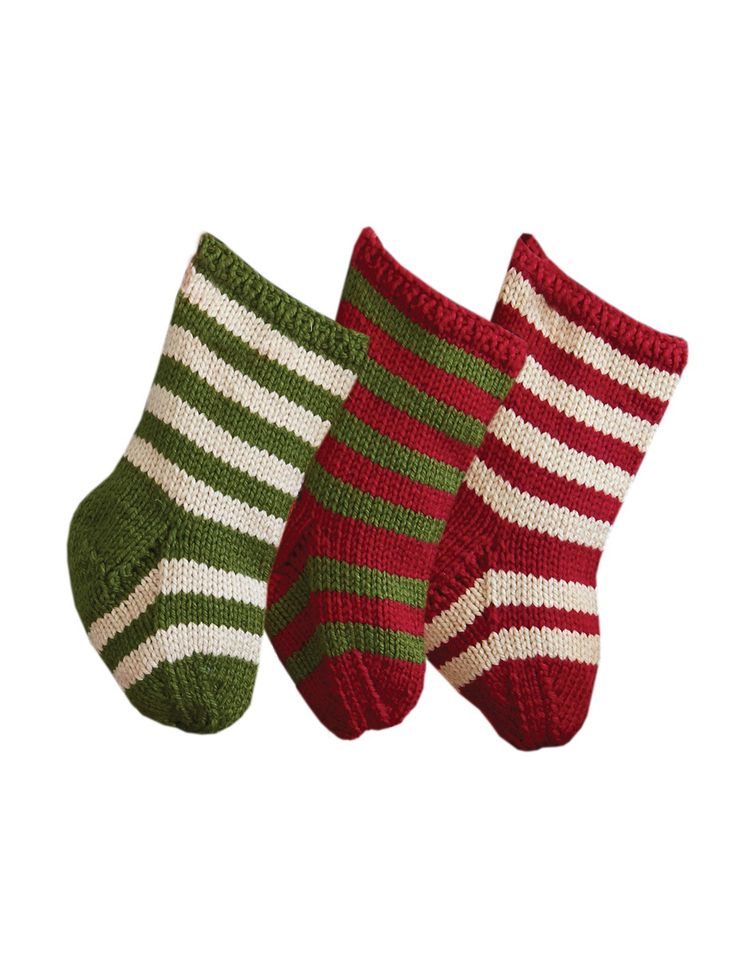 Knit Pattern For Striped Christmas Stocking : Yarnspirations.com - Bernat Striped Knit Stockings Yarnspirations Christm...