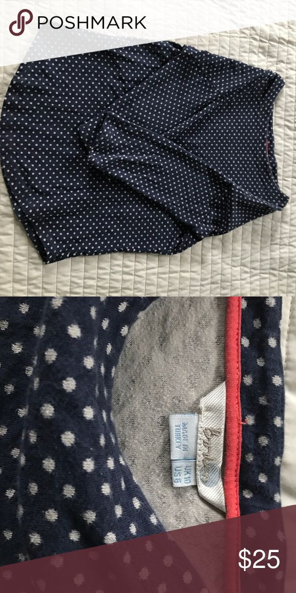 Navy polka dot top from Boden Cute and comfy top from Boden in excellent used condition. This top ran a bit larger than other Boden tops (I'm usually an 8 - which is like a medium) knit top can be worn year long. Polka dots are more of a taupe than a white. Boden Tops Sweatshirts & Hoodies
