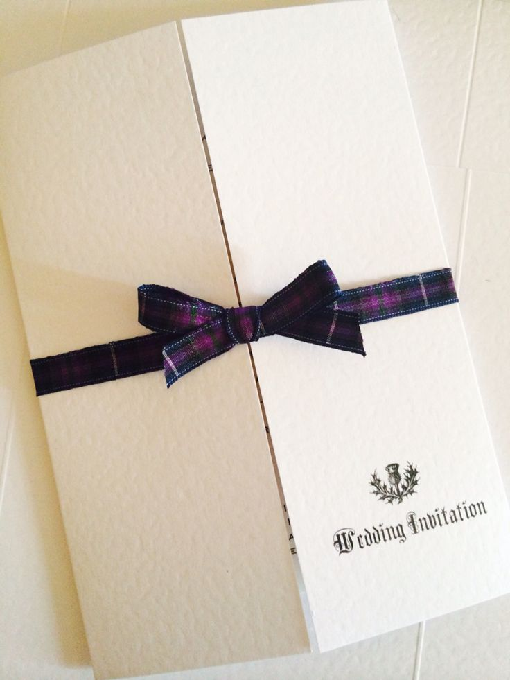 Spirit of Scotland tartan.  Gatefold white textured card with Scottish theme. By Made Marvellous.