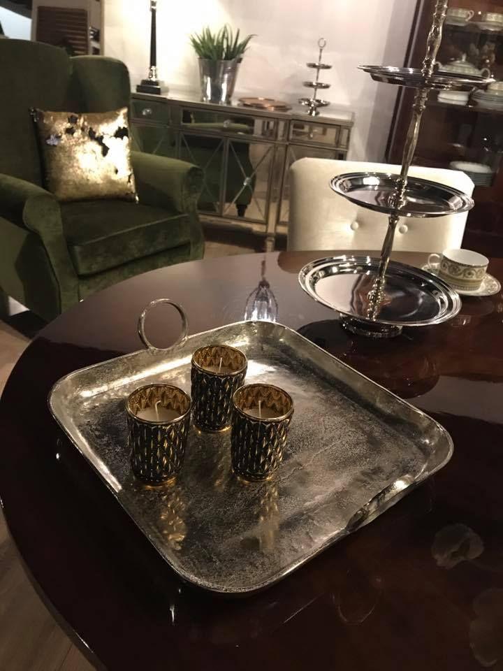 Ozdoby Na Stol W Kolorze Srebrnym Eleganckie Tace Platery Swieczniki Coffee Maker Kitchen Appliances Maker