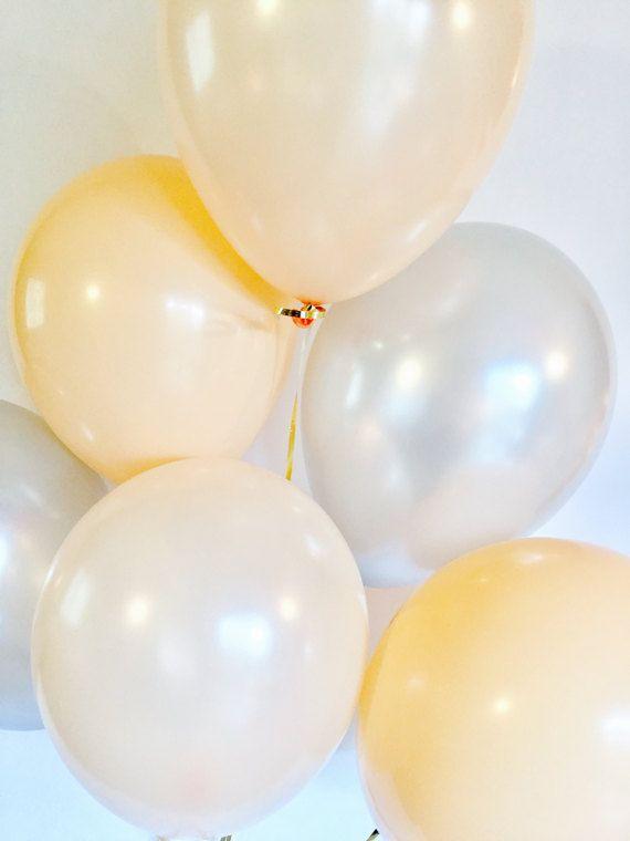 Peach Silver & Blush Balloons Blush Bridal Shower Tea Party