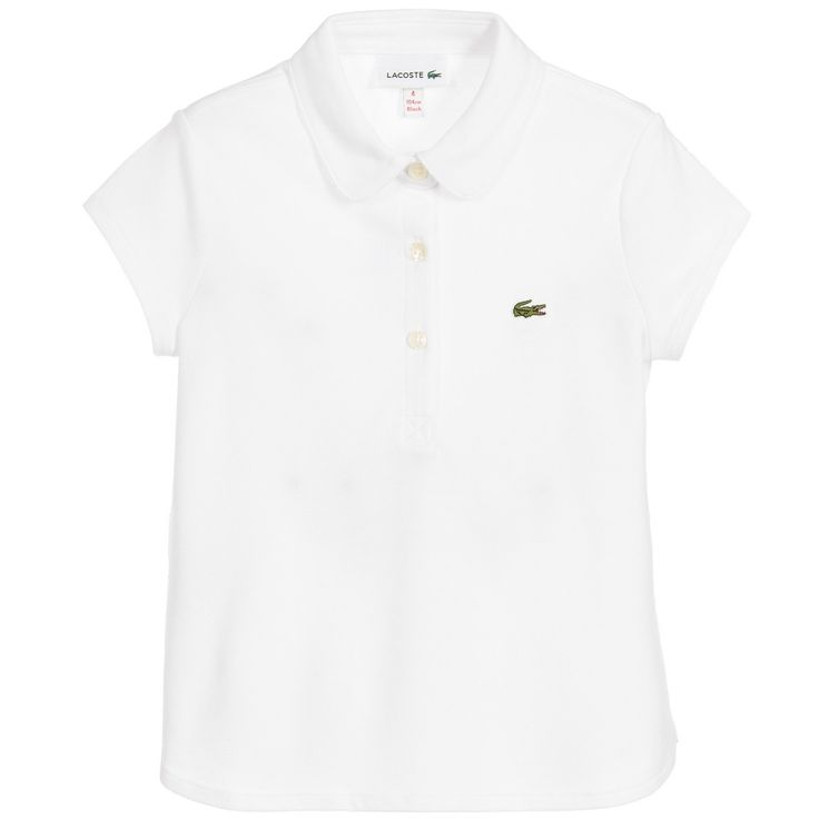 Lacoste Girls White Cotton Piqué Polo Shirt at Childrensalon.com