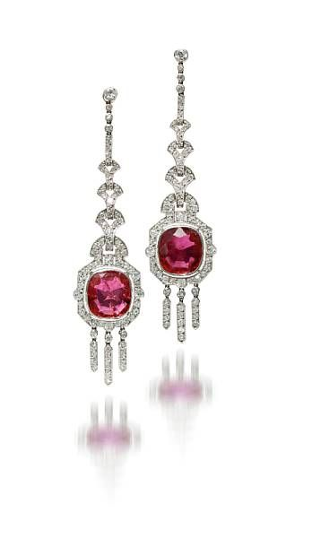 A pair of art deco ruby and diamond pendant earrings, Mauboussin, 1924