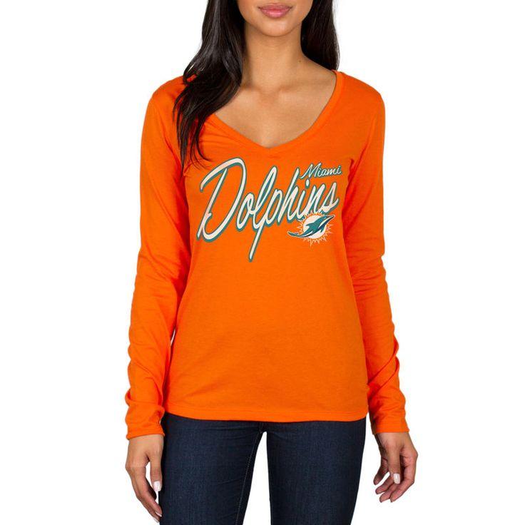 Miami Dolphins Women's Scrimmage 1-Hit V-Neck T-Shirt - Orange