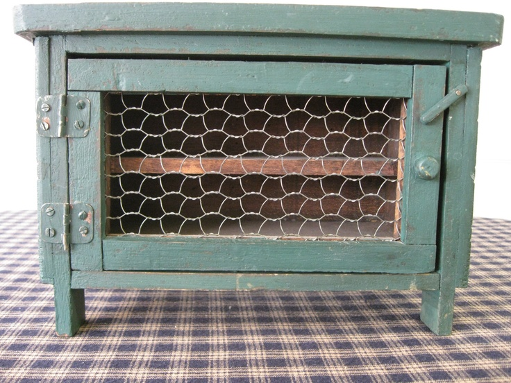 Primitive rustic little green pie safe  Chicken Coop Wire