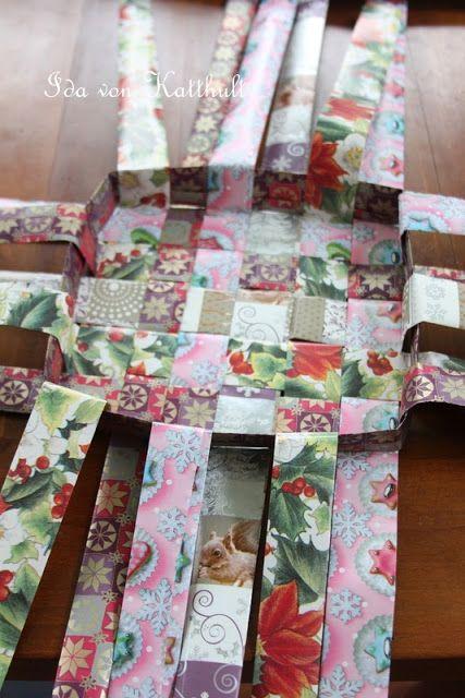 idas bloghaus diy korb aus papier flechten basteln papier geflochtener korb und papier. Black Bedroom Furniture Sets. Home Design Ideas