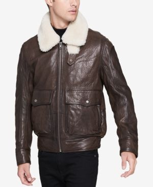 Andrew Marc Men's Aviator Leather Jacket - Brown L