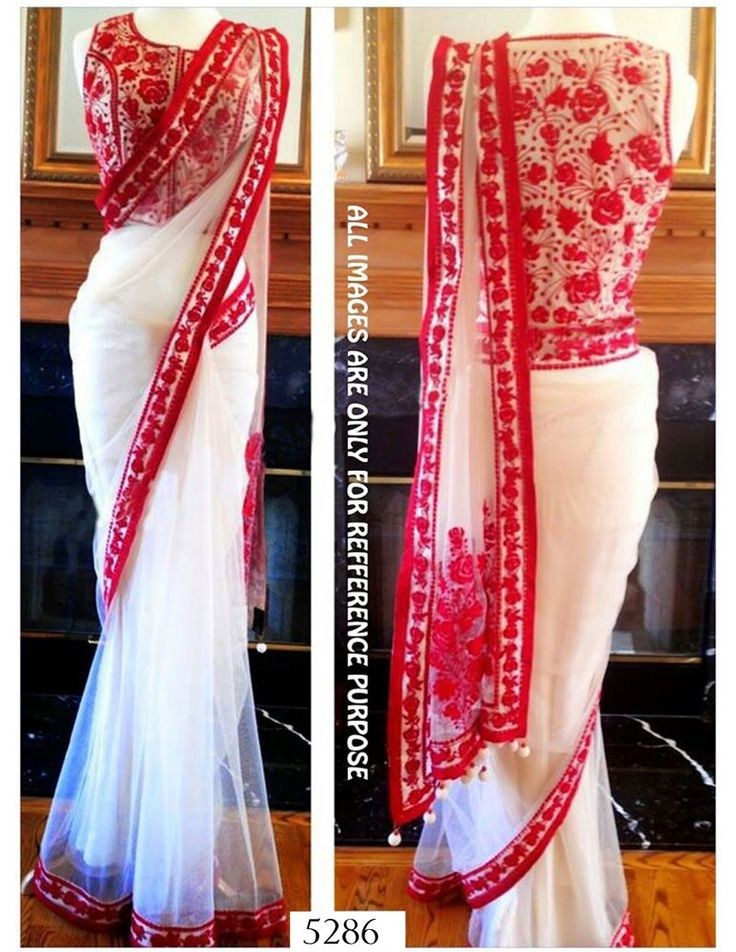 Net Thread Work Cream & Red Plain Bollywood Style Saree - 5286 at Rs 3486