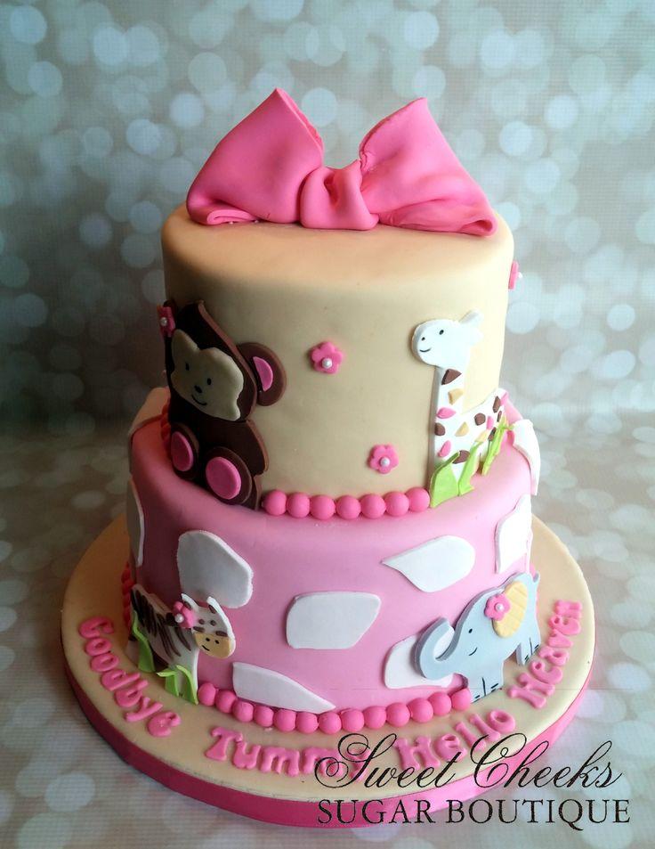 A Pretty Pink Safari Baby Shower Cake. Congratulations!