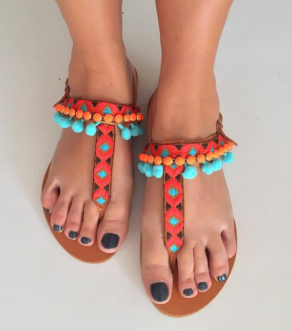 "Pom Pom Boho T Strap Sandals ""Mediterranean Sunset"", Greek Leather Sandals, Handmade Sandals, FREE SHIPPING"
