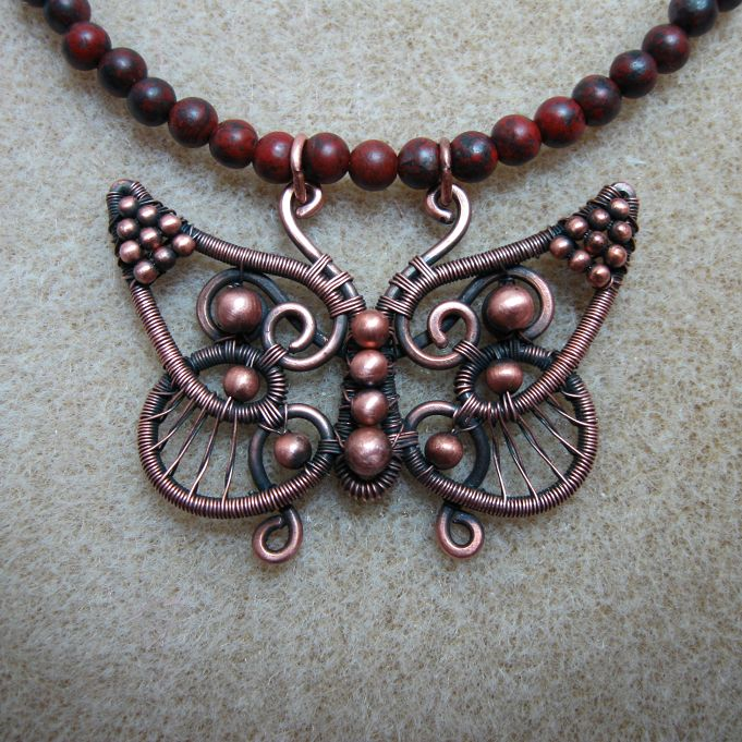 Wire butterfly pendant