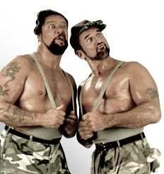 The Bushwhackers  From: Auckland, New Zealand  Signature Move: Double Gut Buster; Battering Ram  Alias: The Sheepherders