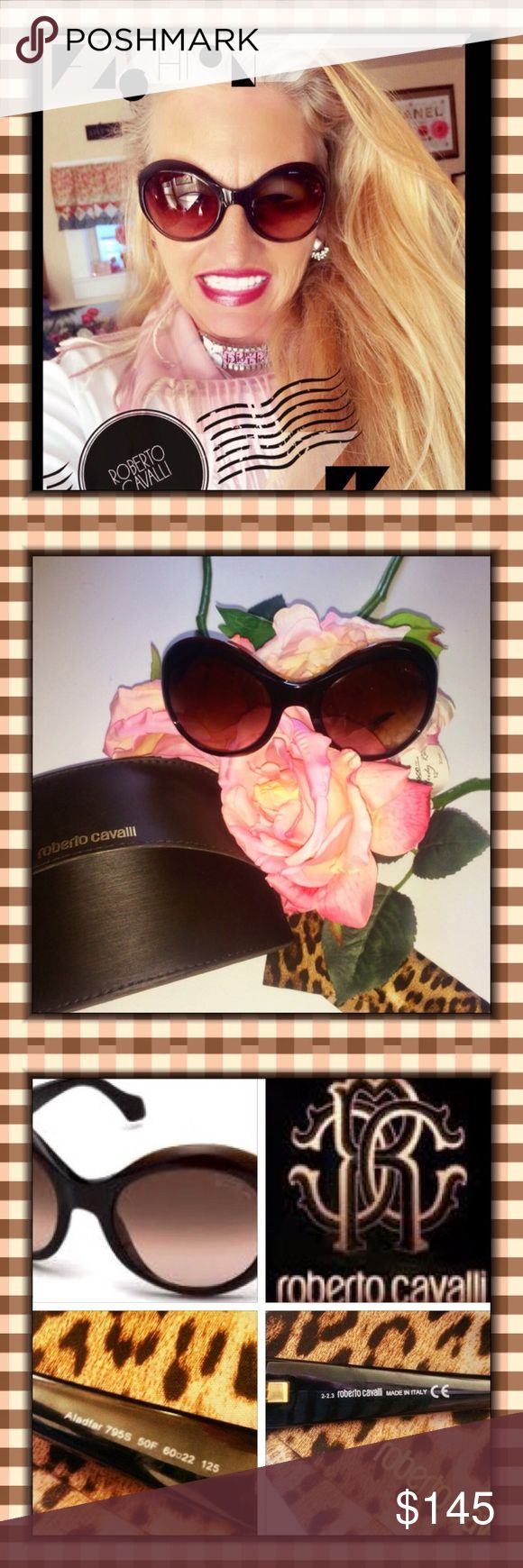 NWT ROBERTO CAVALLI ALADFAR OVERSIZED SUNGLASSES THIS IS AN INCREDIBLE PAIR OF OVERSIZED CAT EYE SUNGLASSES BY ROBERTO CAVALLI CALLED THE ALADFAR SUNGLASSES. BRAND NEW WITH CASE AND CLEANING CLOTH. IN PRISTINE NEW CONDITION. RETAIL VALUE IS $425.00. I ACTUALLY WON THEM ON A BIDDING SITE. FROM YEAR 2015. DARK BROWN FRAMES AND MAUVE GRADIENT LENSES. FRAME SHAPE IS OVAL AND THE FRAME AND LENS MATERIAL IS PLASTIC. 💯 % UV PROTECTION. Roberto Cavalli Accessories Sunglasses