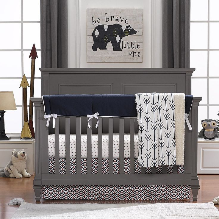 Archery (Navy and Coral) Bumperless Crib Bedding
