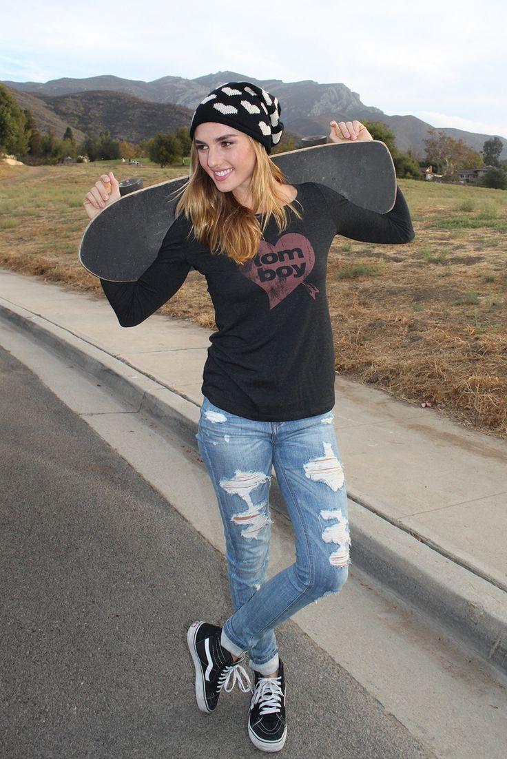 tomboy heart long sleeve tee  skater girl outfits tomboy