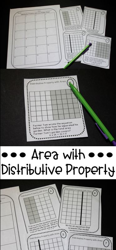 Finding area using the distributive property task cards and quiz! This is a great multiplication strategy and the arrays make it more concrete.