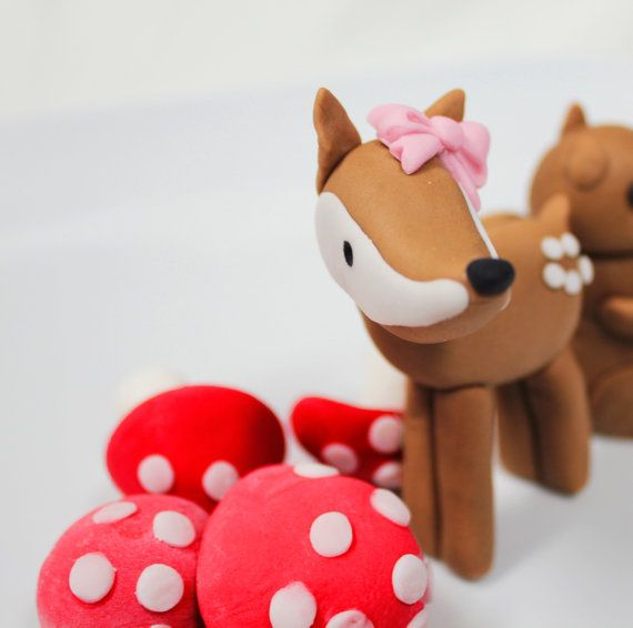 Edible Woodland DEER fondant cake topper -  1 qty deer great for birthday party cake or cupcake toppers. $7.00, via Etsy.