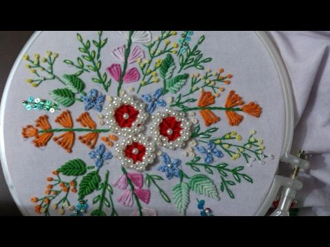 Hand embroidery with easy basic stitches beautiful flower - YouTube