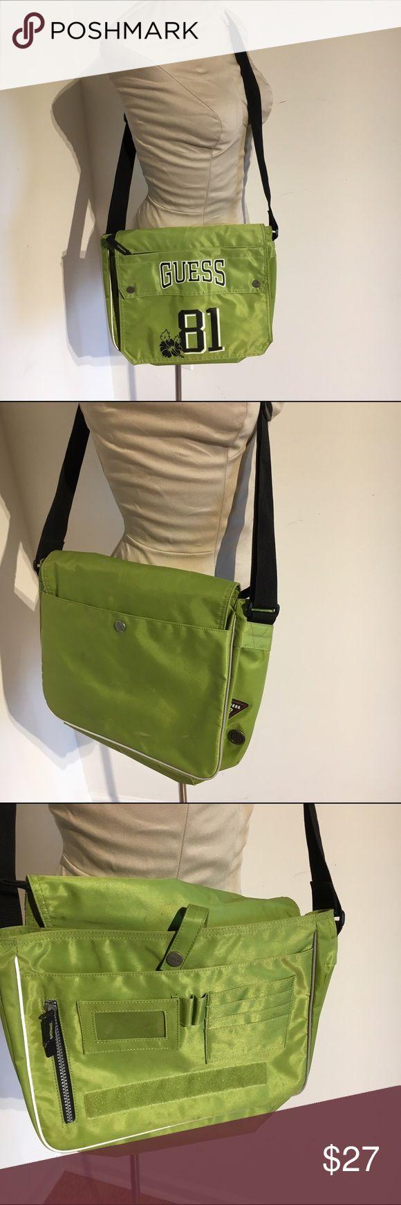 Guess crossbody bag 💼 Super cool lime green crossbody bag with card holder, pen pocket, large interior pocket and back pocket. Guess Bags Crossbody Bags