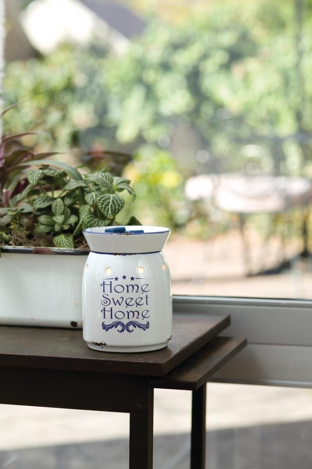 Scentsy Home Stead Warmer $30 - Like something you'd find in grandmas farmhouse a simple enamelware-inspired warmer with a down-home message. www.kimalcorn.scentsy.us