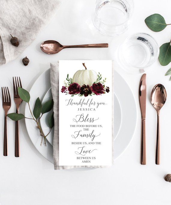 Your Thanksgiving Guests Will Love Easily Finding Their Seat With These Lovely Blessing Place Ca Fall Menu Wedding Menu Template Thanksgiving Table Decorations