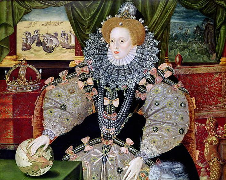 George Gower, The Armada Portrait of Elizabeth I, c. 1588. Private collection, Woburn Abbey, Bedfordshire, UK. Made to commemorate the defeat of the Spanish armada in August, 1588, it shows the queen as Empress of the world and commander of the seas. (There is a cut-down copy in the National Portrait Gallery, London)