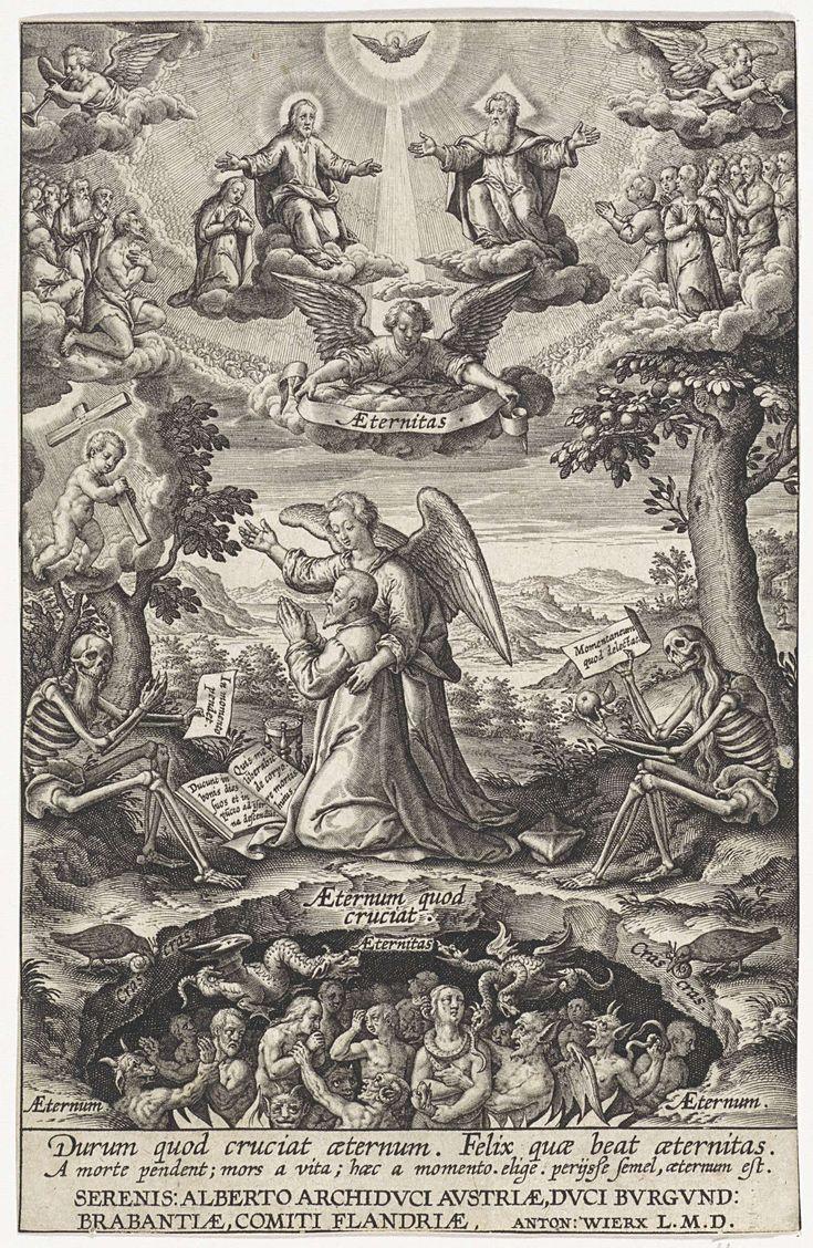 Allegorie op de verlossing van de mensheid, Antonie Wierix (II), aartshertog van Oostenrijk Albrecht, 1565 - voor 1604