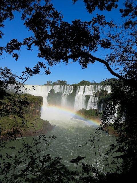 Les chutes d'Iguazu en Argentine à travers les arbres