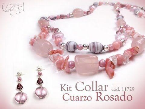Aprenda y Venda con Variedades Carol: KIT 11729 kit collar cuarzo rosado x und - YouTube